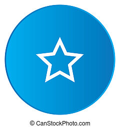 White Icon Isolated on a Blue Button - Star