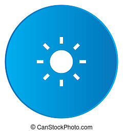 White Icon Isolated on a Blue Button - Sun
