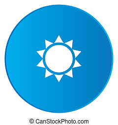 White Icon Isolated on a Blue Button - Sunshine