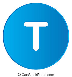 White Icon Isolated on a Blue Button - T