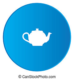 White Icon Isolated on a Blue Button - Teapot