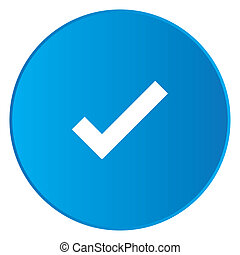 White Icon Isolated on a Blue Button - Tick