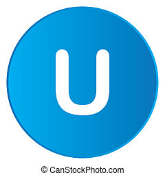 White Icon Isolated on a Blue Button - U
