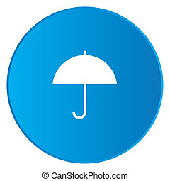 White Icon Isolated on a Blue Button - Umbrella