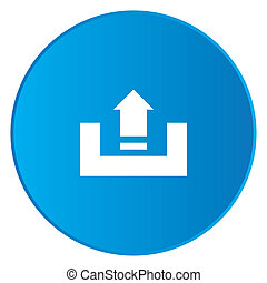 White Icon Isolated on a Blue Button - Upload