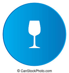 White Icon Isolated on a Blue Button - Wine Glass