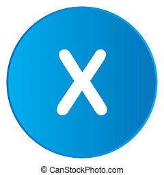 White Icon Isolated on a Blue Button - X