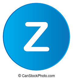 White Icon Isolated on a Blue Button - Z