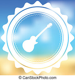 White Icon Isolated on a Blurred Background - Guitar