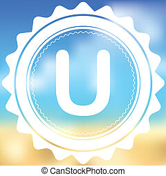 White Icon Isolated on a Blurred Background - U