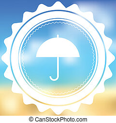 White Icon Isolated on a Blurred Background - Umbrella