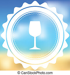 White Icon Isolated on a Blurred Background - Wine Glass