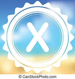 White Icon Isolated on a Blurred Background - X