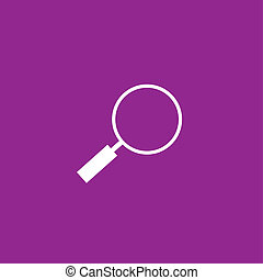 White Icon Isolated on a Purple Background - Magniying Glass
