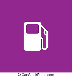 White Icon Isolated on a Purple Background - Petrol Pump
