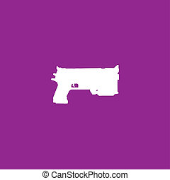 White Icon Isolated on a Purple Background - Pistol