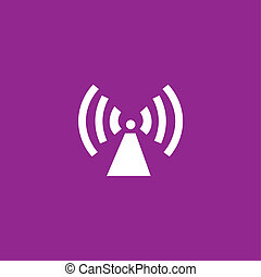 White Icon Isolated on a Purple Background - Radio Tower