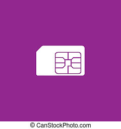 White Icon Isolated on a Purple Background - SIM Card