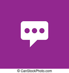 White Icon Isolated on a Purple Background - Speech Bubble with Dots