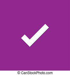 White Icon Isolated on a Purple Background - Tick