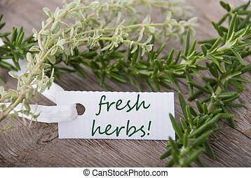 white label with fresh herbs