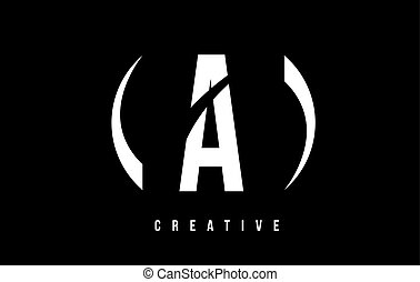 A White Letter Logo Design with Black Background.