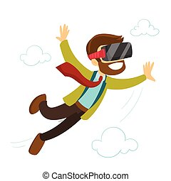 A white man in virtual reality headset flying in the air....