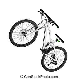 a white mountain bike isolated