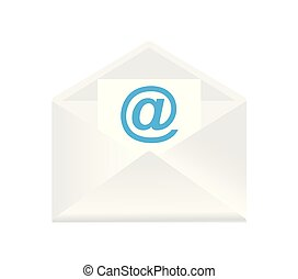A white open envelope with paper.
