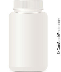A white plastic bottle isolated