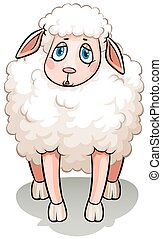 A white sheep - A sad white sheep on a white background