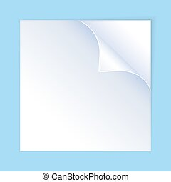 A white sheet of paper with curled corner.