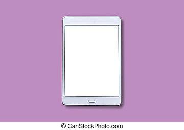 A white tablet with a blank screen.