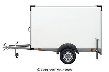 white trailer - a white trailer isolated on white back