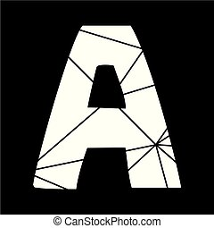 A white vector alphabet letter isolated on black background