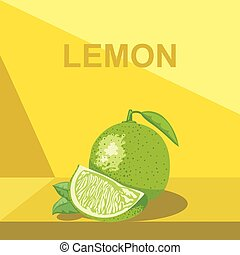 A whole big ripe lemon with green l