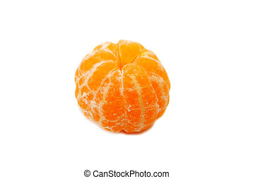 A Whole Peeled Tangerine Isolated Over A White Background
