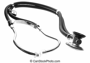 A whole sthetoscope. - A bent sthetoscope laying down....