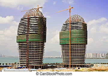 A whole view of the Phoenix Island Harbor of Sanya city, China