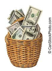 basket full of money isolated on white background.