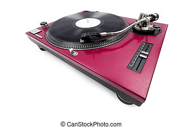 A wide angle shot of a cherry red turntable from the pitch side