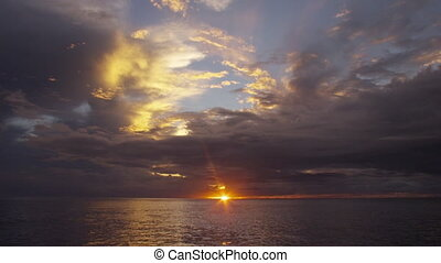 A wide horizon on sunset