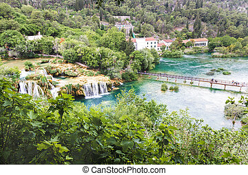 a wide view from the top of the Krka waterfalls, Croatia in may