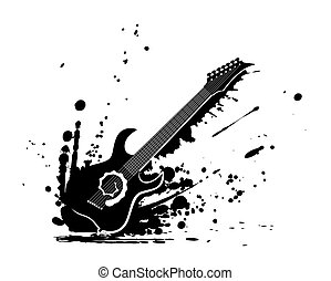 guitar - a wild guitar with many paint splashes