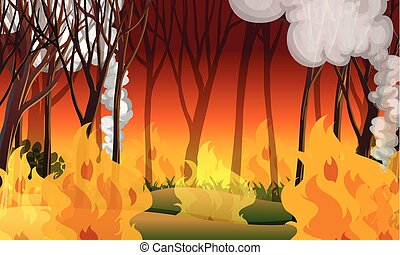 A wildfire disaster landscape illustration