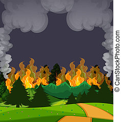 A wildfire forest scene at night