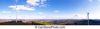 a wind turbine farm panorama
