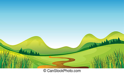 Illustration of a winding road with the mountain on the background.