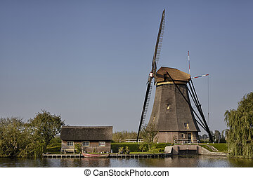 a, windmühle, an, kinderdijk