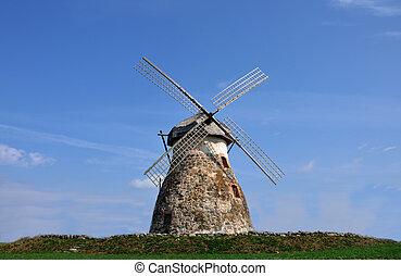a, windmühle, stehende , auf, der, hügel